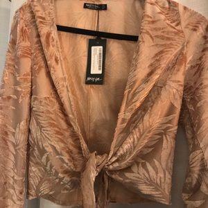 Nasty Gal - Velvet tie front top in nude